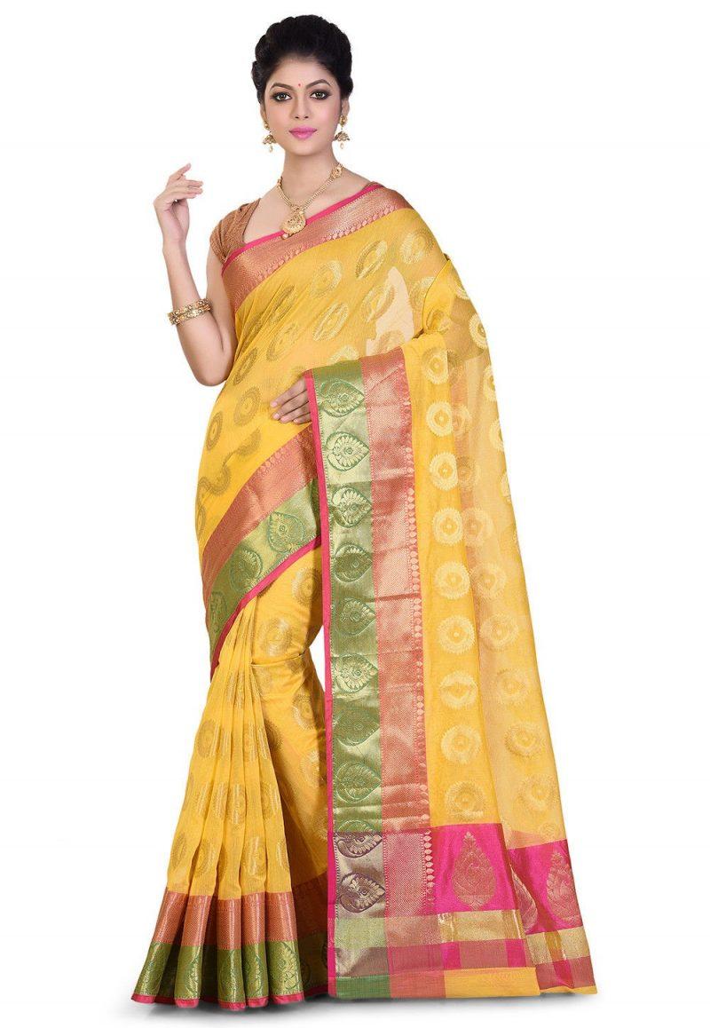 Banarasi Cotton Silk Saree in Yellow 1