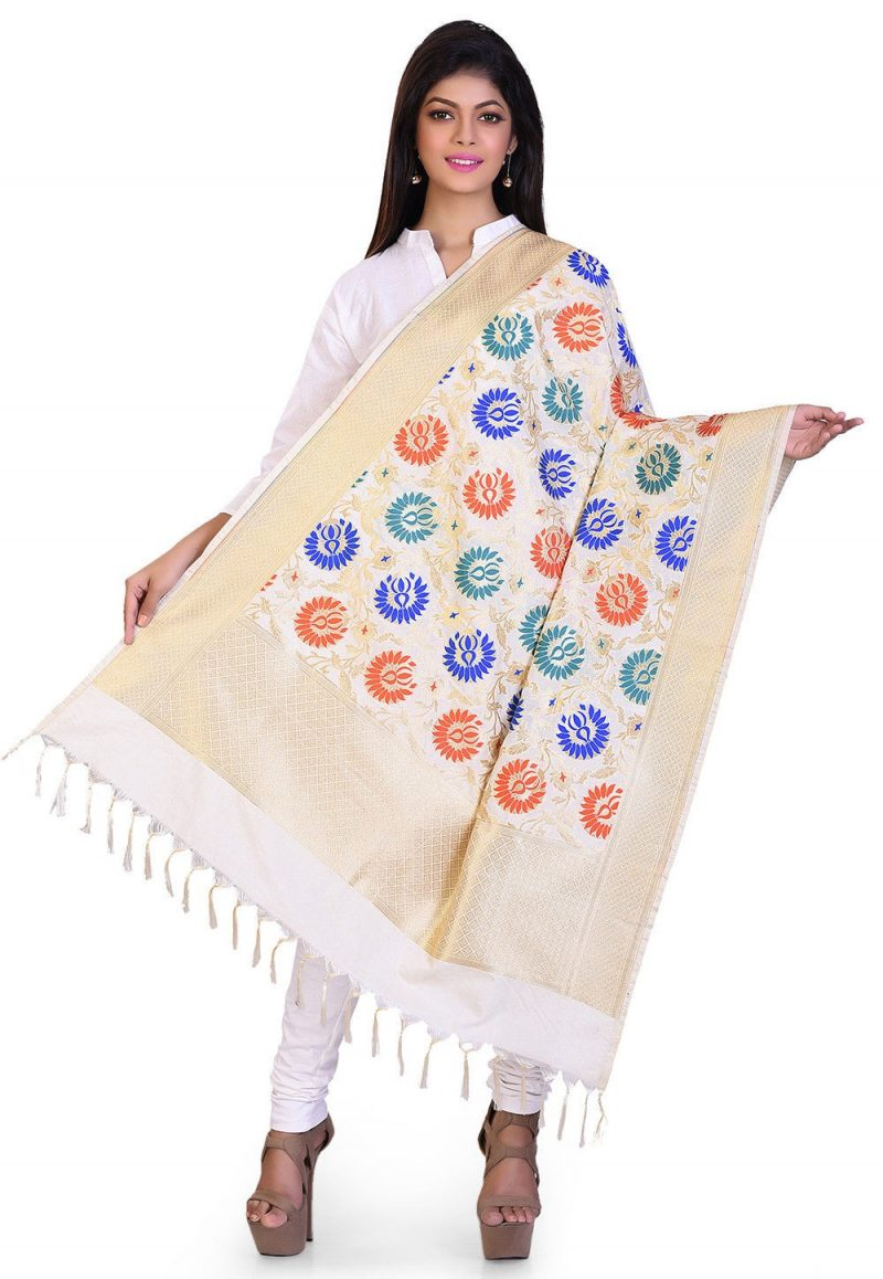 Woven Banarasi Art Silk Kimkhab Dupatta in Cream 1