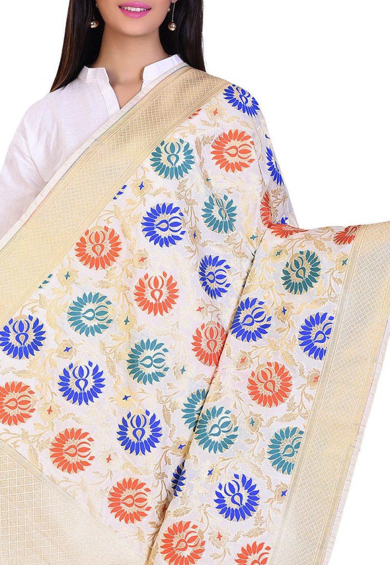 Woven Banarasi Art Silk Kimkhab Dupatta in Cream 2