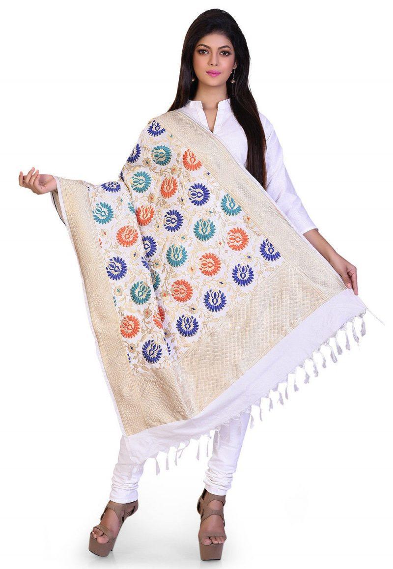 Woven Banarasi Art Silk Kimkhab Dupatta in White 1