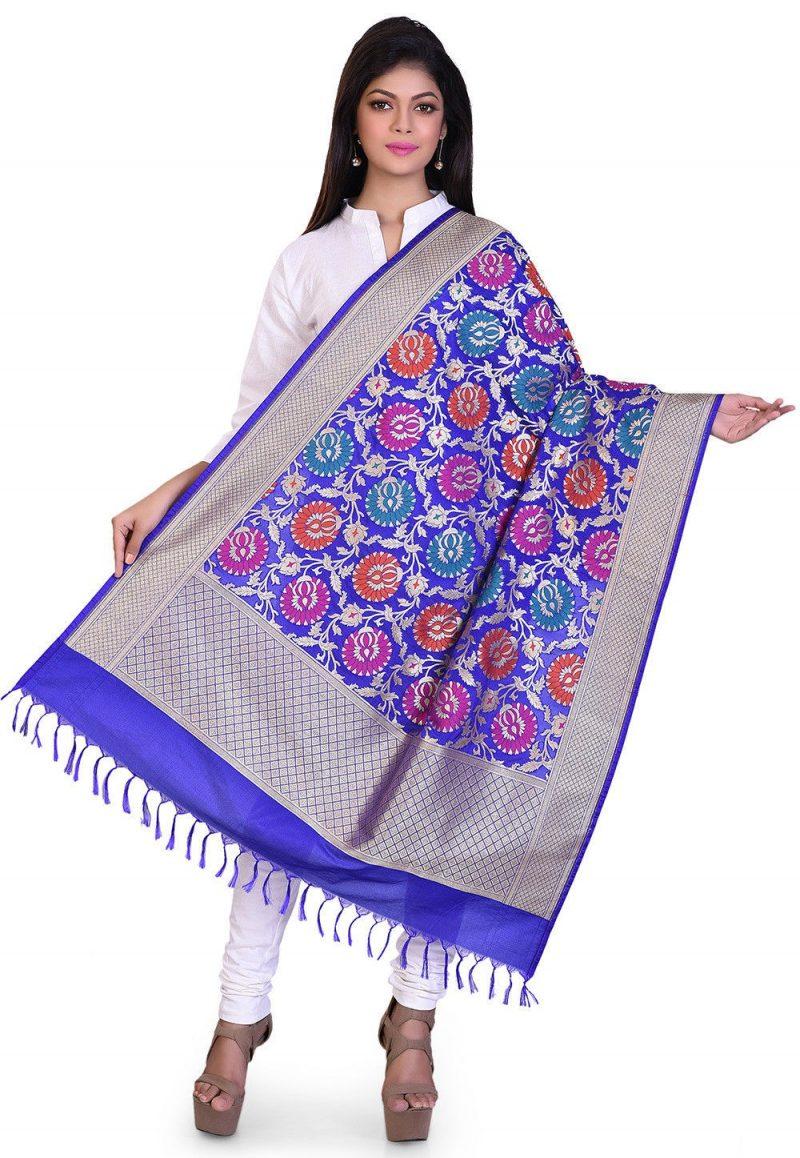 Woven Banarasi Art Silk Kimkhab Dupatta in Royal Blue 1