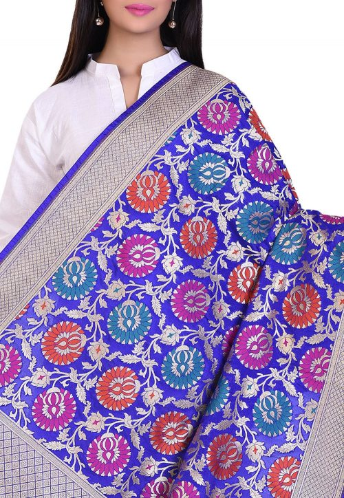 Woven Banarasi Art Silk Kimkhab Dupatta in Royal Blue 4