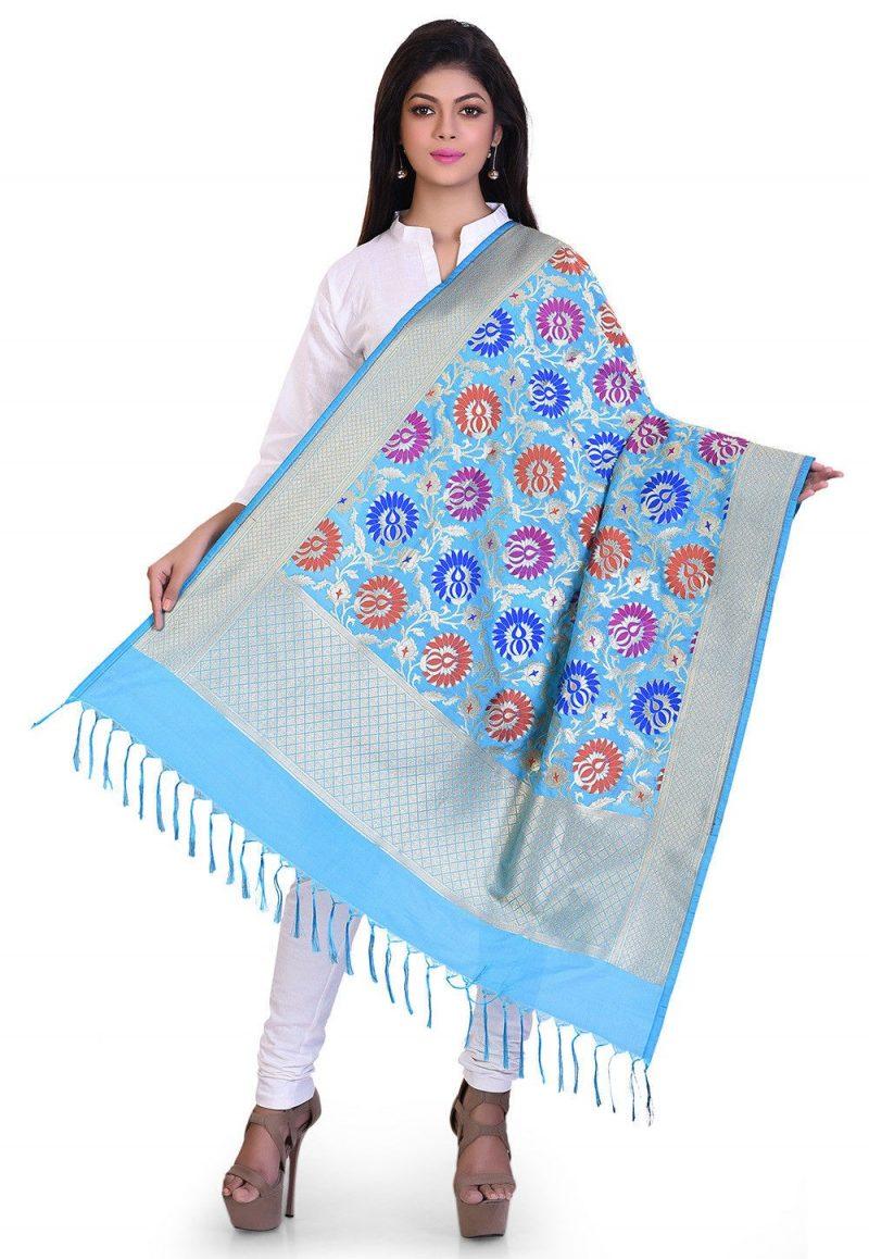 Woven Banarasi Art Silk Kimkhab Dupatta in Sky Blue 1