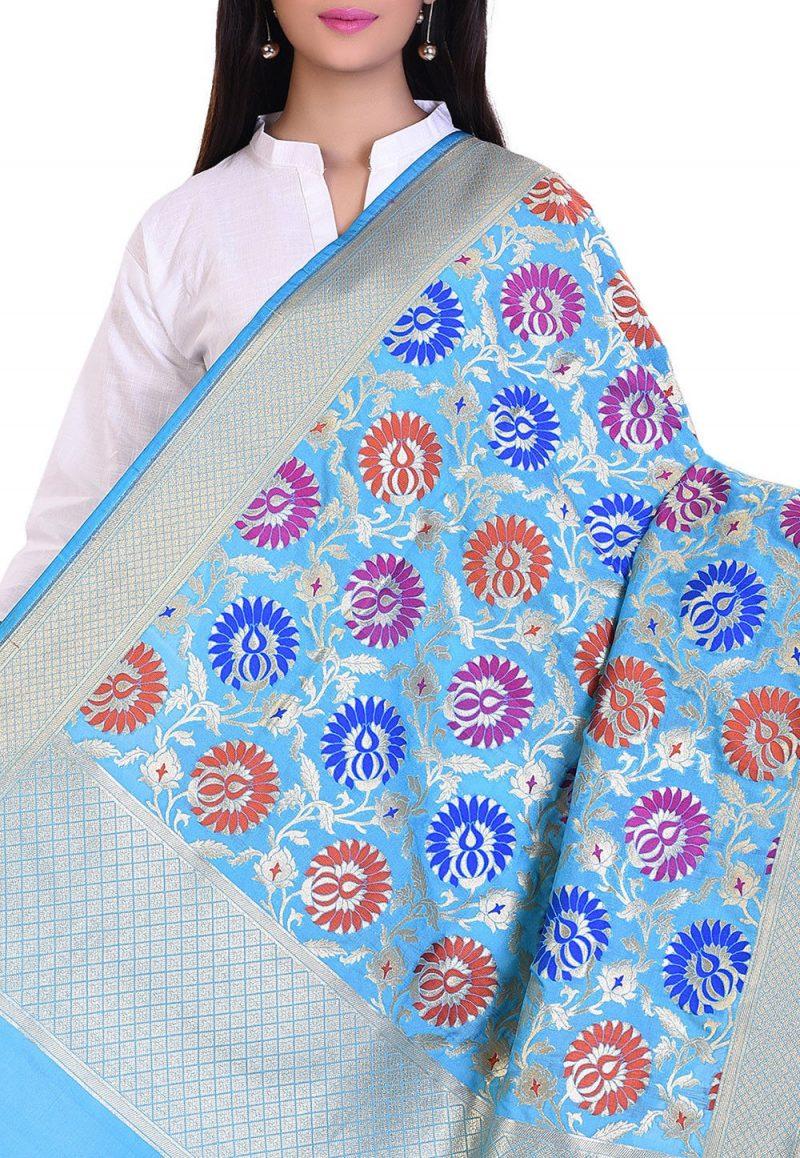 Woven Banarasi Art Silk Kimkhab Dupatta in Sky Blue 2