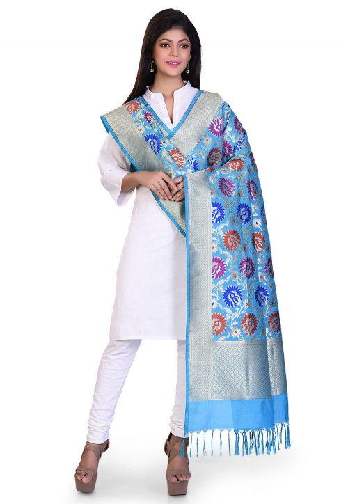 Woven Banarasi Art Silk Kimkhab Dupatta in Sky Blue 5