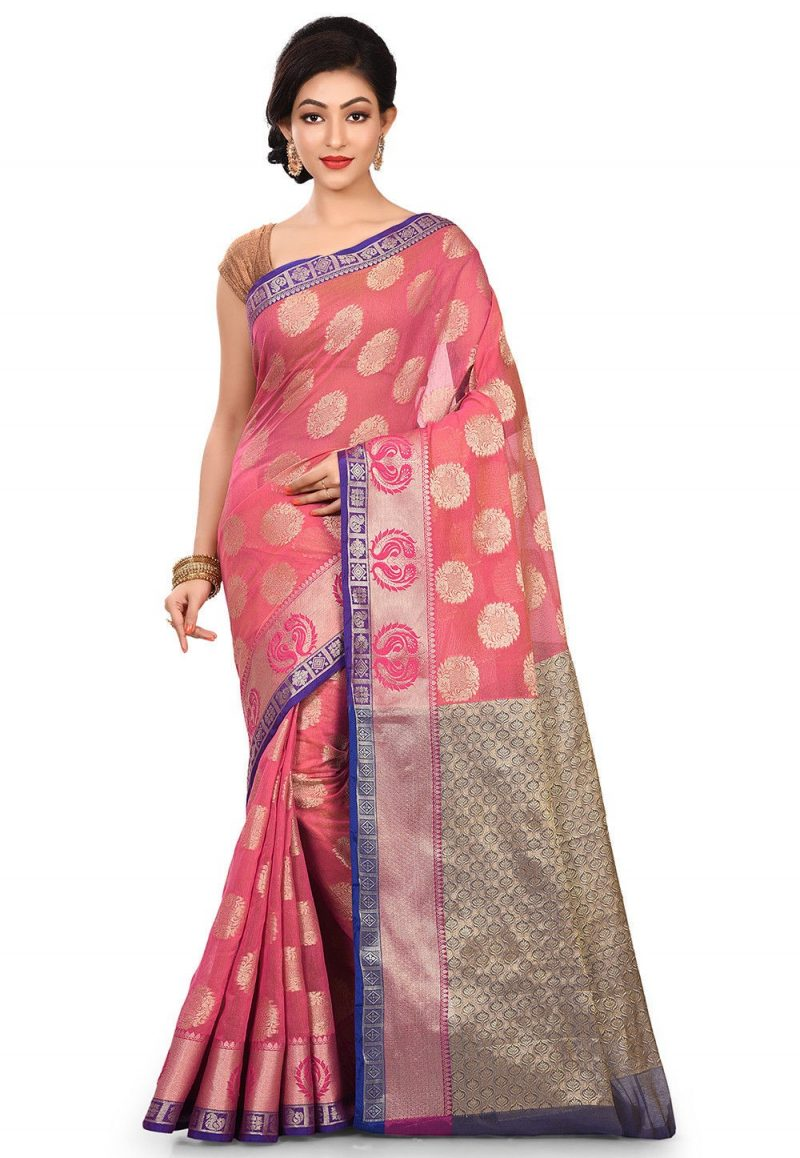 Banarasi Cotton Silk Saree in Fuchsia 1