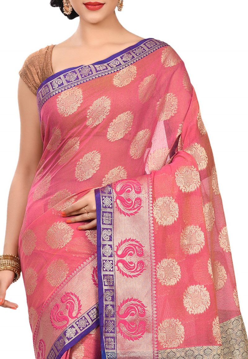 Banarasi Cotton Silk Saree in Fuchsia 2