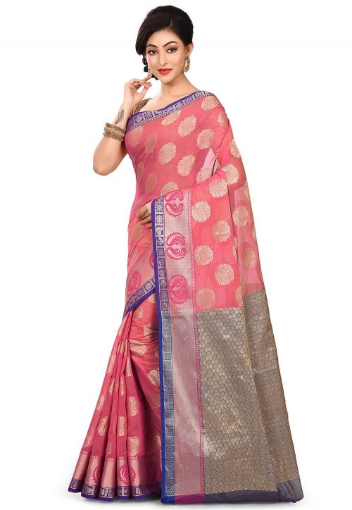 Banarasi Cotton Silk Saree in Fuchsia 7