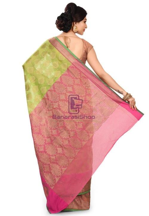 Banarasi Cotton Silk Saree in Light Green 9