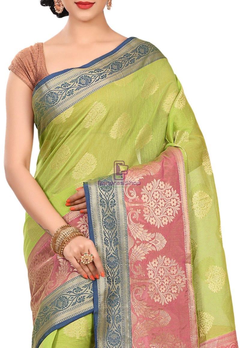 Banarasi Cotton Silk Saree in Light Green 2