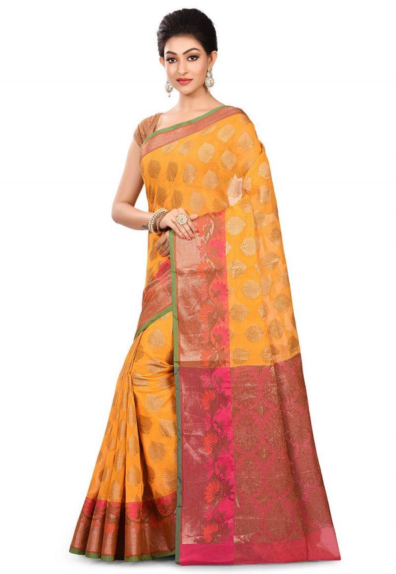 Banarasi Cotton Silk Saree in Mustard 4