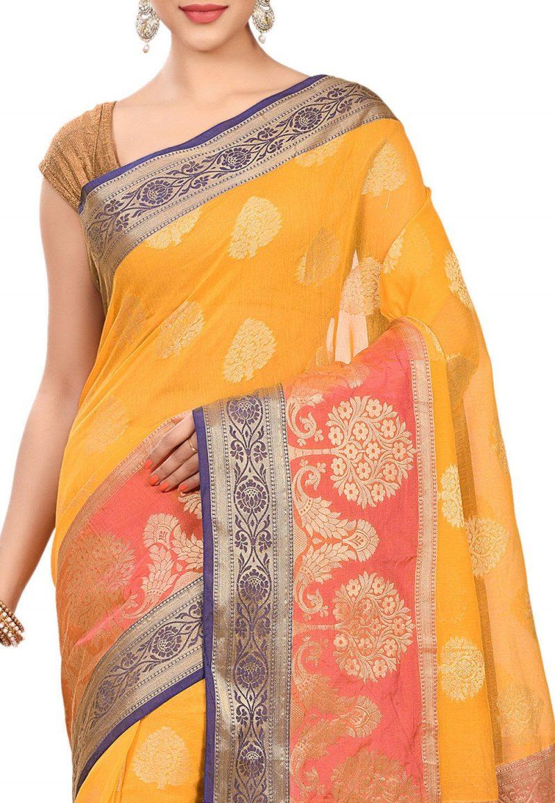 Banarasi Cotton Silk Saree in Mustard 2