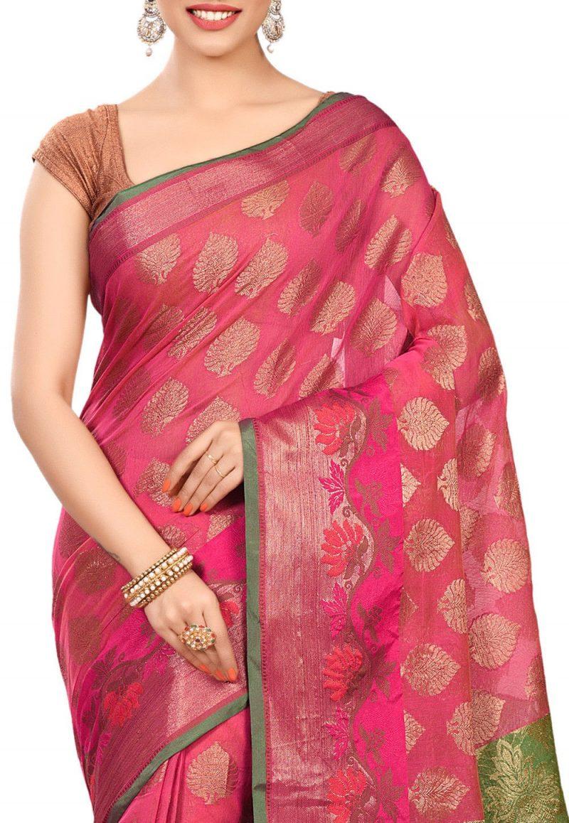 Banarasi Cotton Silk Saree in Pink 2