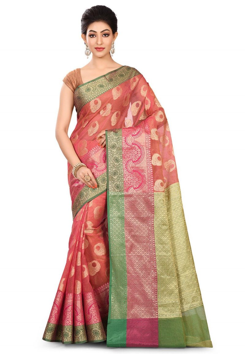 Banarasi Cotton Silk Saree in Fuchsia 1