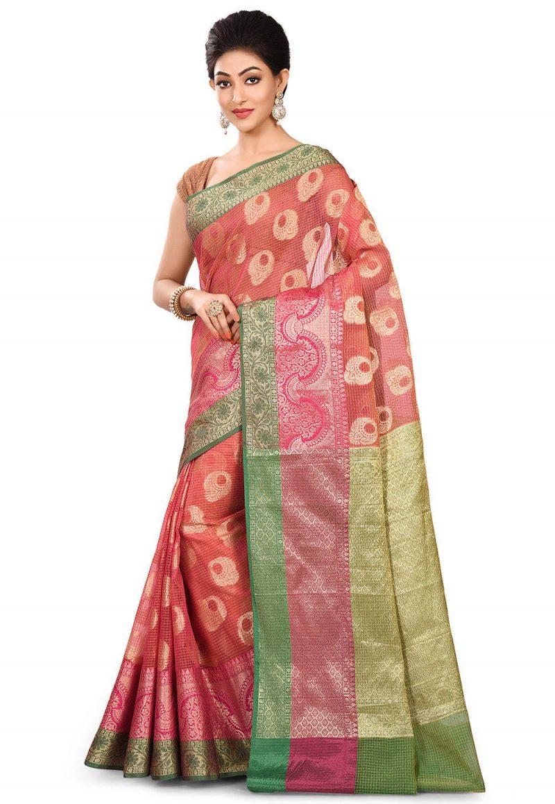 Banarasi Cotton Silk Saree in Fuchsia 4