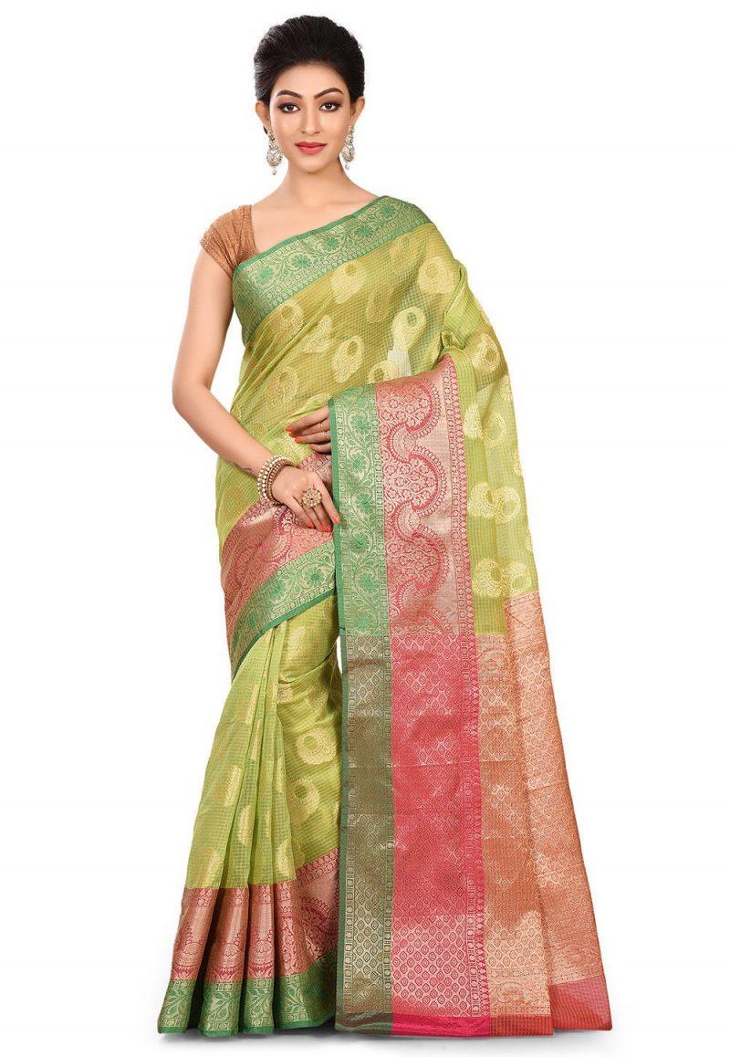 Banarasi Cotton Silk Saree in Light Green 1