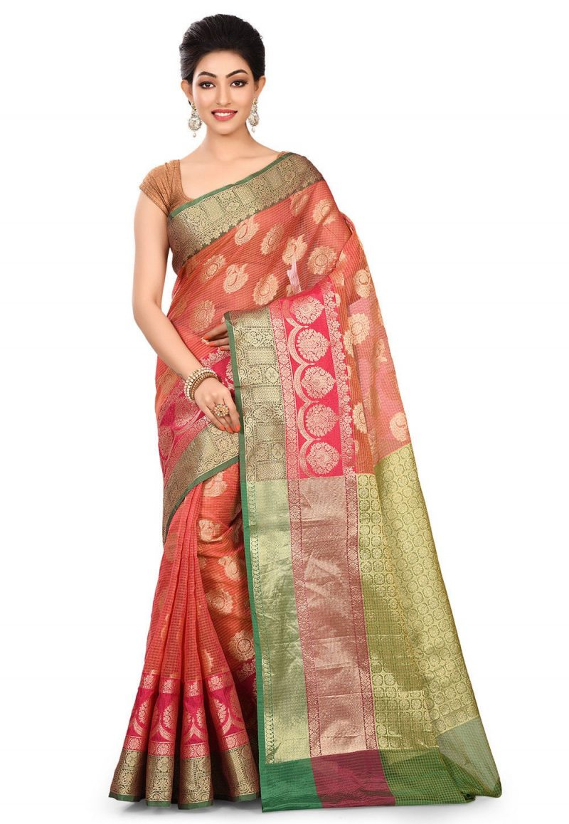 Banarasi Cotton Silk Saree in Pink 1