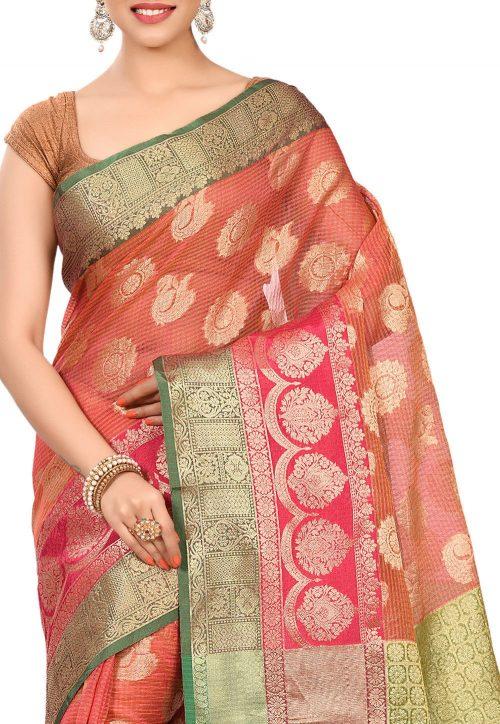 Banarasi Cotton Silk Saree in Pink 5