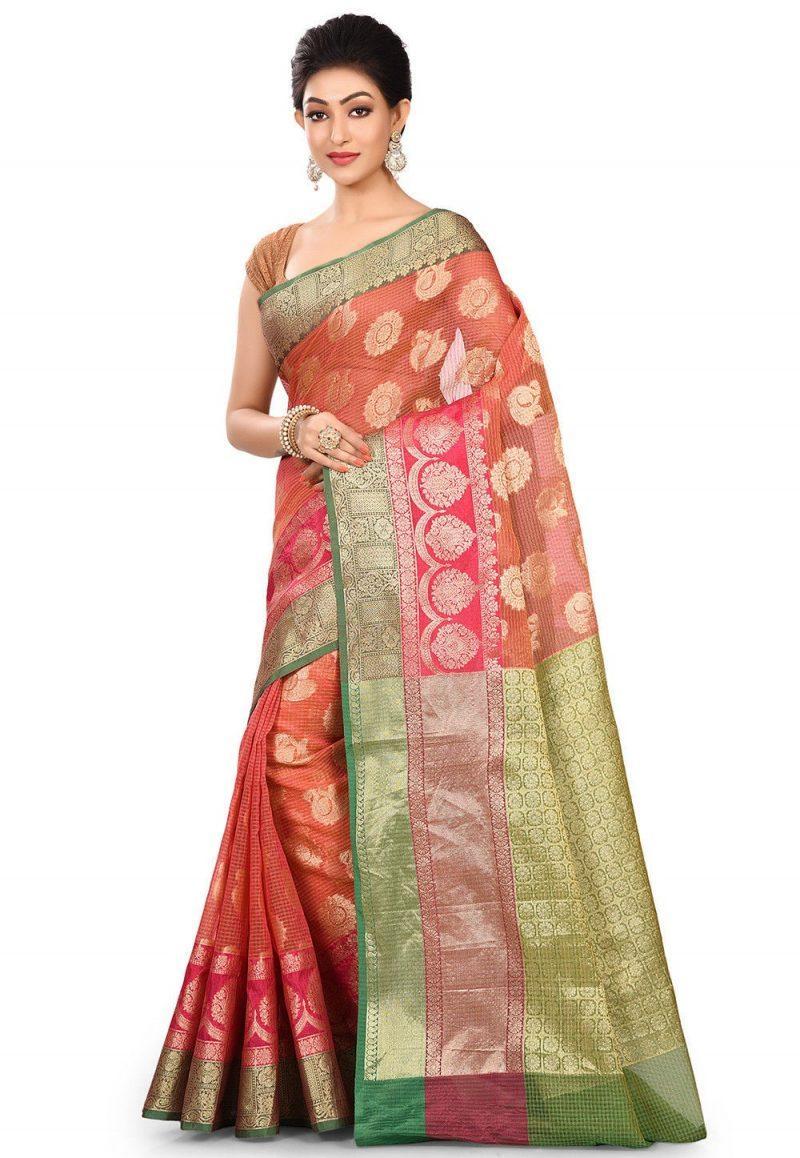 Banarasi Cotton Silk Saree in Pink 4