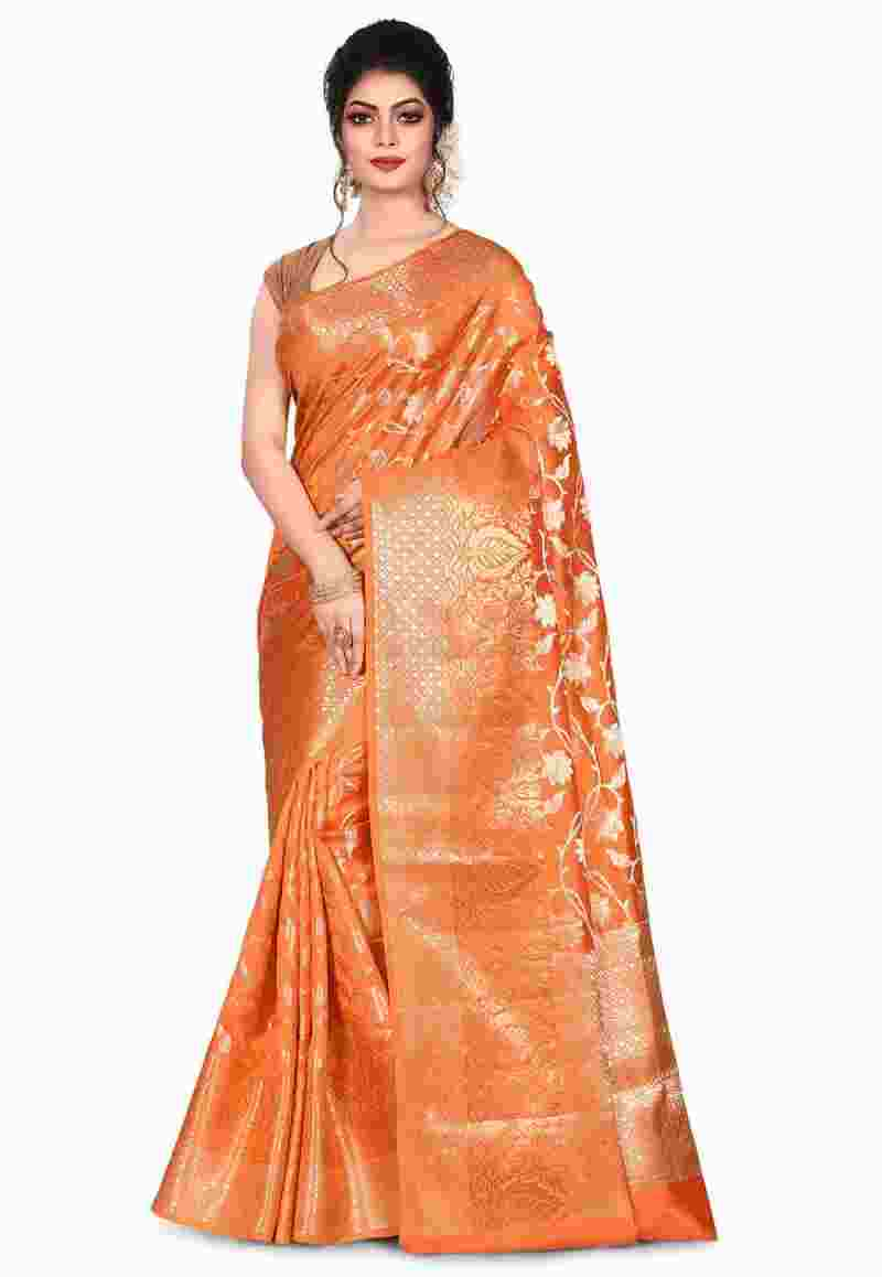 Pure Silk Banarasi Saree in Orange 1