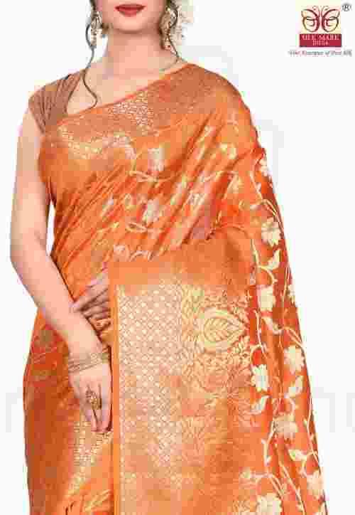 Pure Silk Banarasi Saree in Orange 5