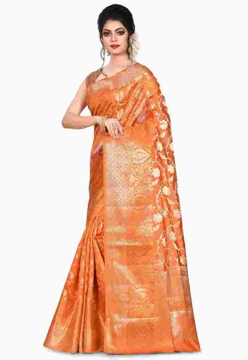 Pure Silk Banarasi Saree in Orange 4