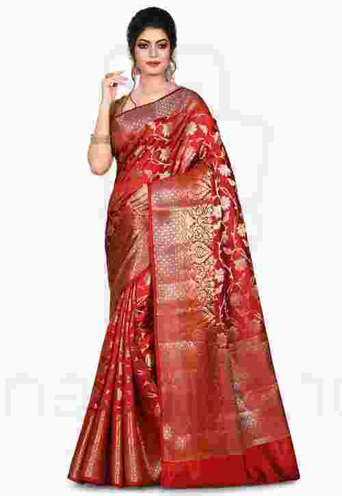 Pure Silk Banarasi Saree in Red 7