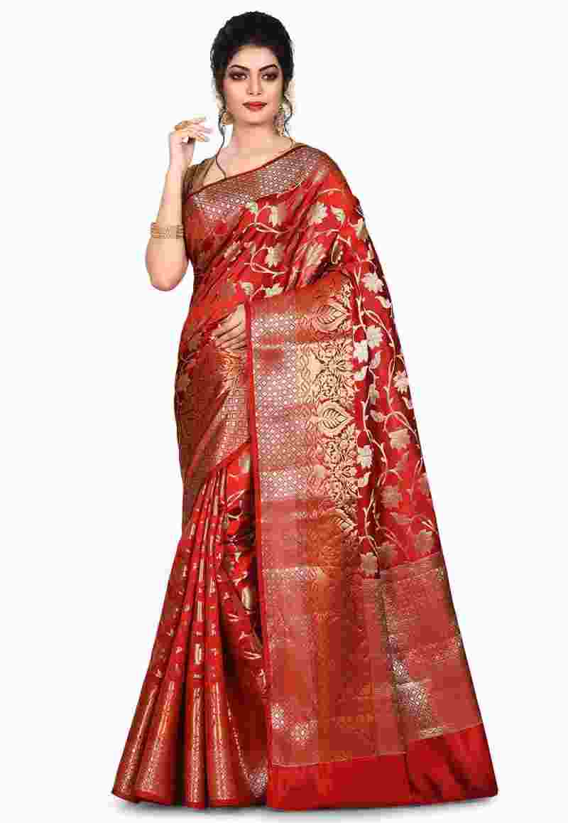 Pure Silk Banarasi Saree in Red 4
