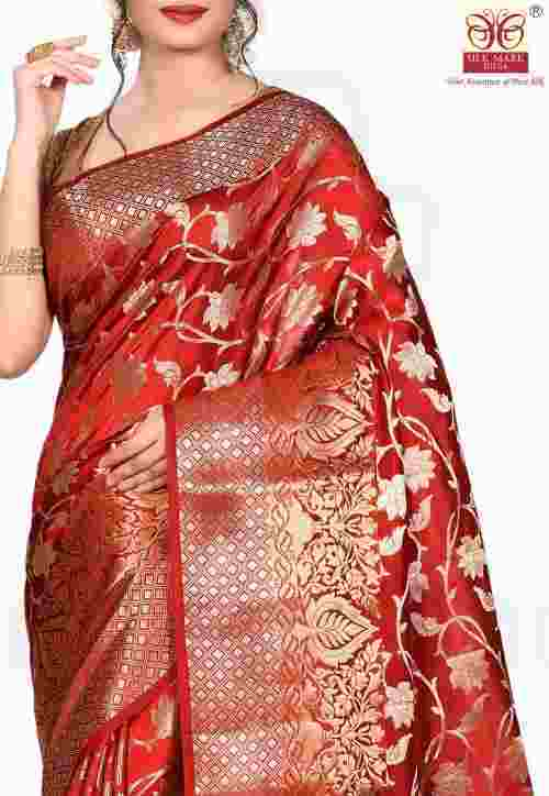 Pure Silk Banarasi Saree in Red 5