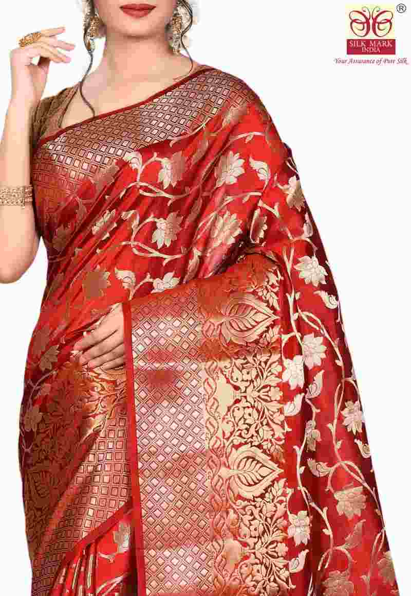 Pure Silk Banarasi Saree in Red 2