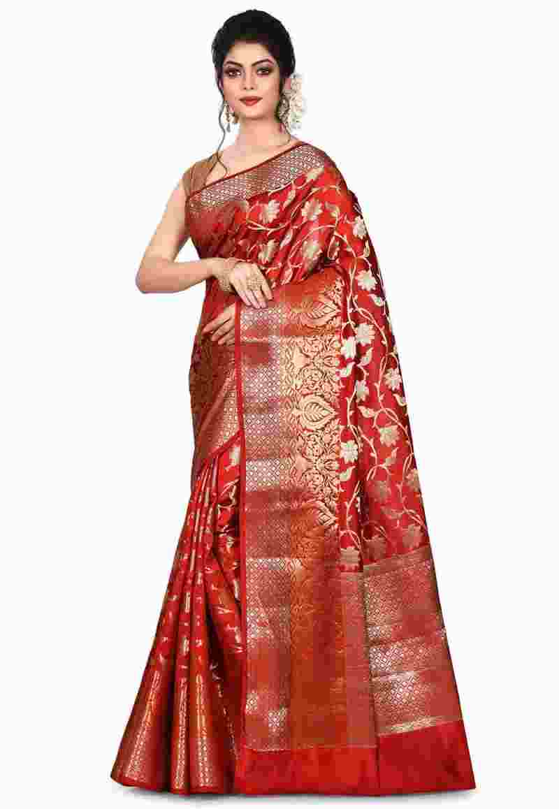 Pure Silk Banarasi Saree in Red 1
