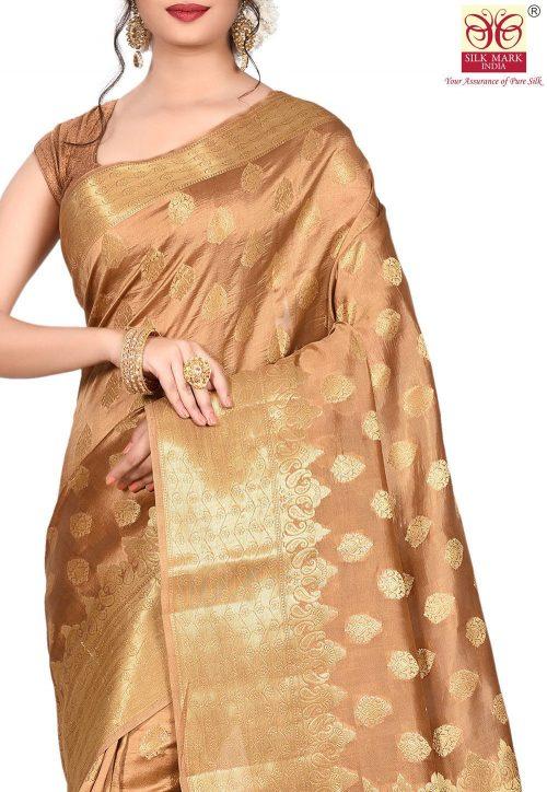 Pure Tussar Silk Banarasi Saree in Dark Beige 5