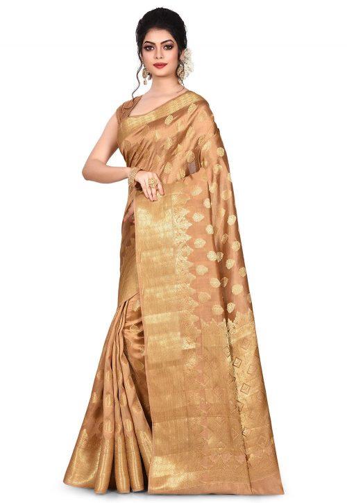 Pure Tussar Silk Banarasi Saree in Dark Beige 7