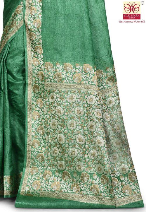Pure Tussar Silk Banarasi Saree in Green 5