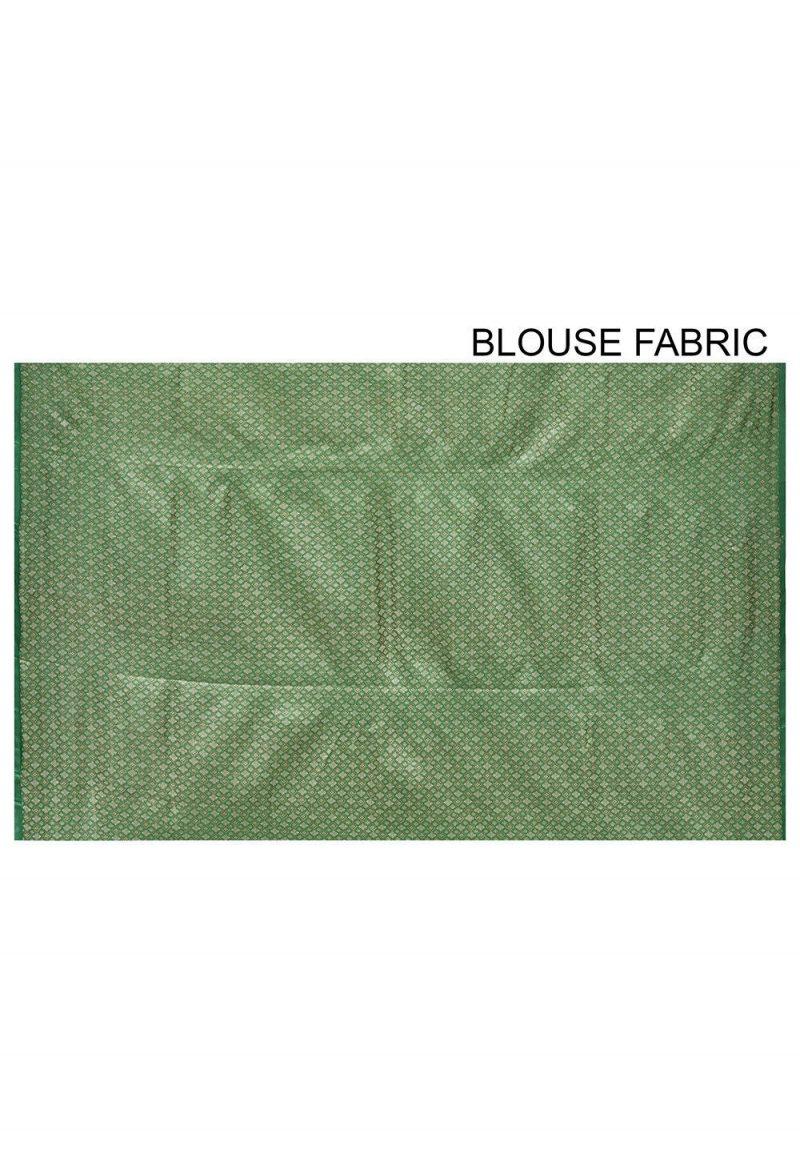 Pure Tussar Silk Banarasi Saree in Green 3