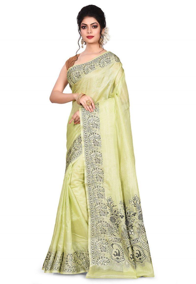 Pure Tussar Silk Banarasi Saree in Light Green 4