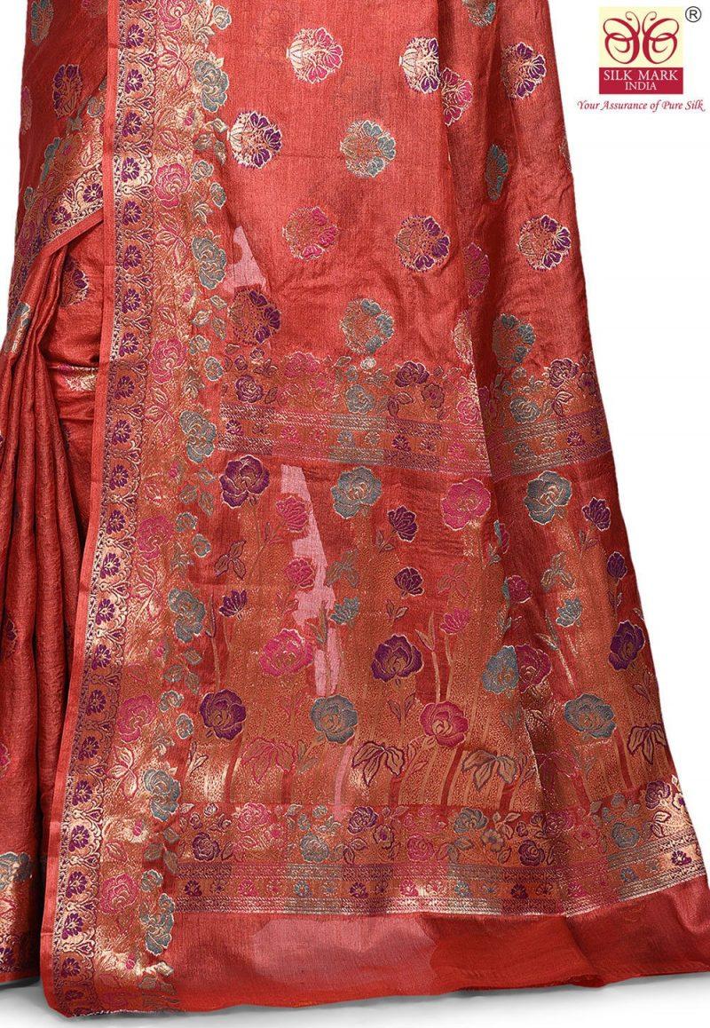 Pure Tussar Silk Banarasi Saree in Maroon 2