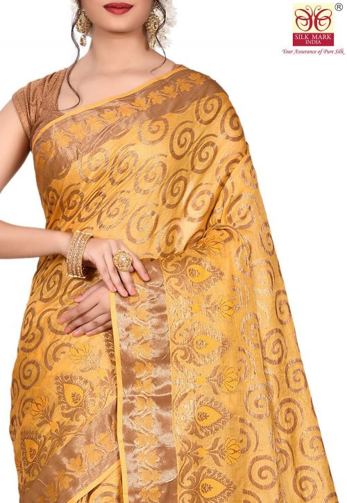 Pure Tussar Silk Banarasi Saree in Mustard 5
