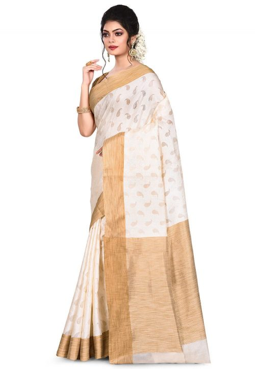 Pure Tussar Silk Banarasi Saree in Off White 7