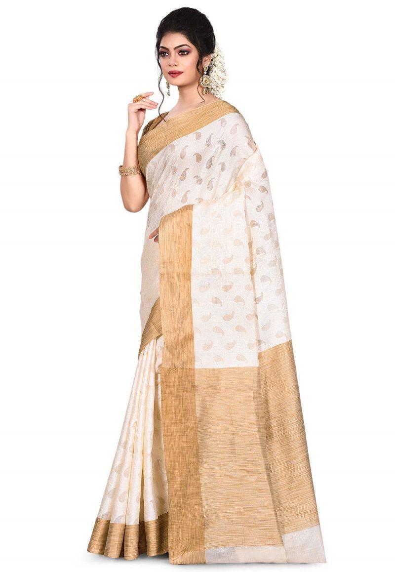 Pure Tussar Silk Banarasi Saree in Off White 4
