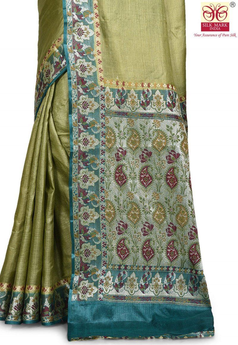 Pure Tussar Silk Banarasi Saree in Olive Green 2
