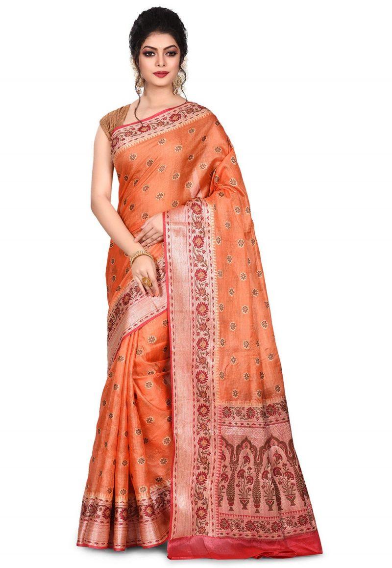 Pure Tussar Silk Banarasi Saree in Orange 1