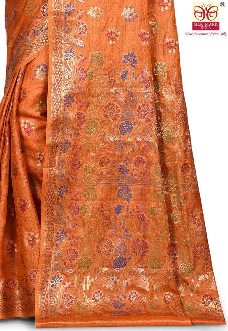 Pure Tussar Silk Banarasi Saree in Orange 2