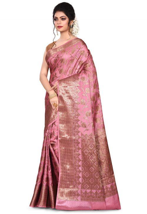 Pure Tussar Silk Banarasi Saree in Pink 7