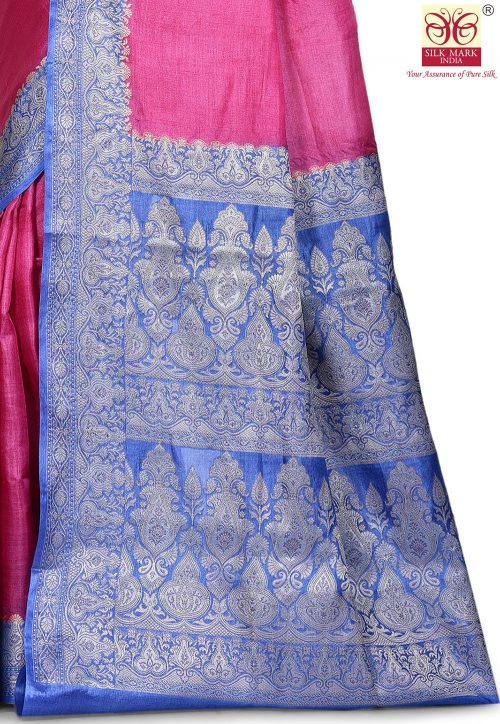 Pure Tussar Silk Banarasi Saree in Pink 5