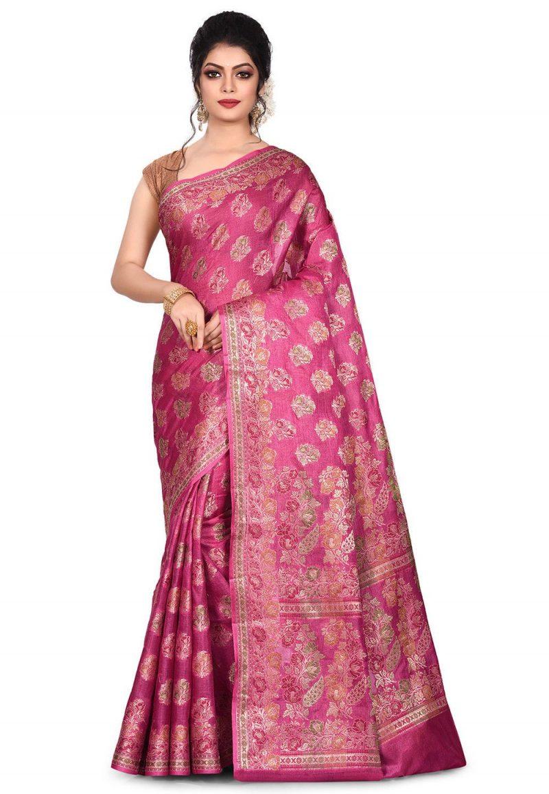 Pure Tussar Silk Banarasi Saree in Pink 1
