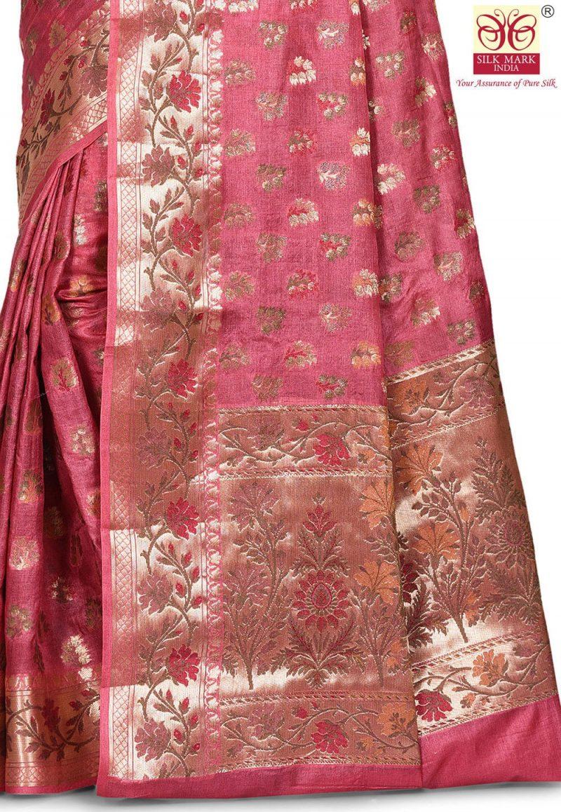 Pure Tussar Silk Banarasi Saree in Pink 2