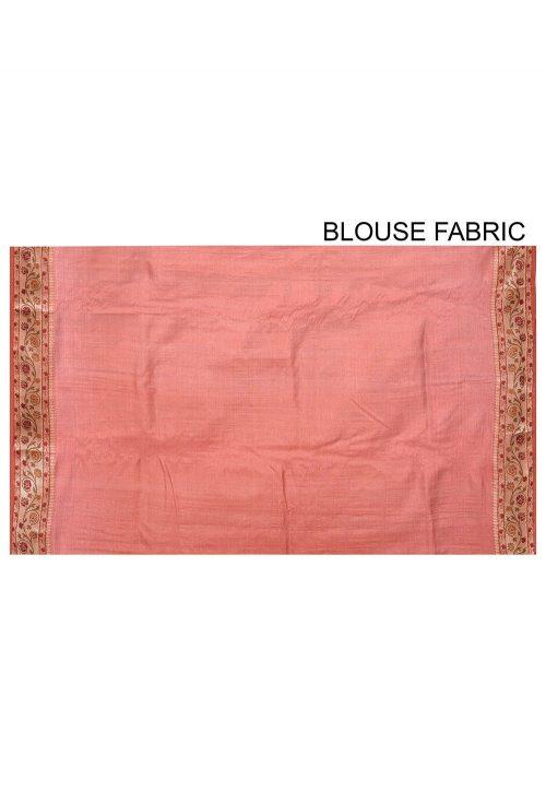 Pure Tussar Silk Banarasi Saree in Rust 6
