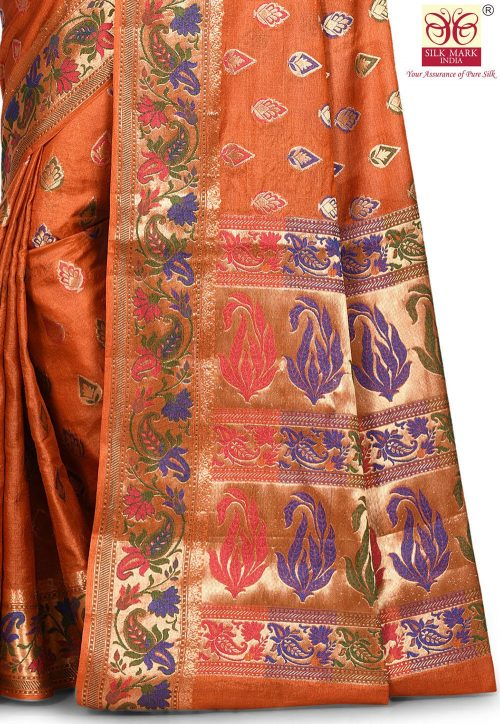 Pure Tussar Silk Banarasi Saree in Rust 5