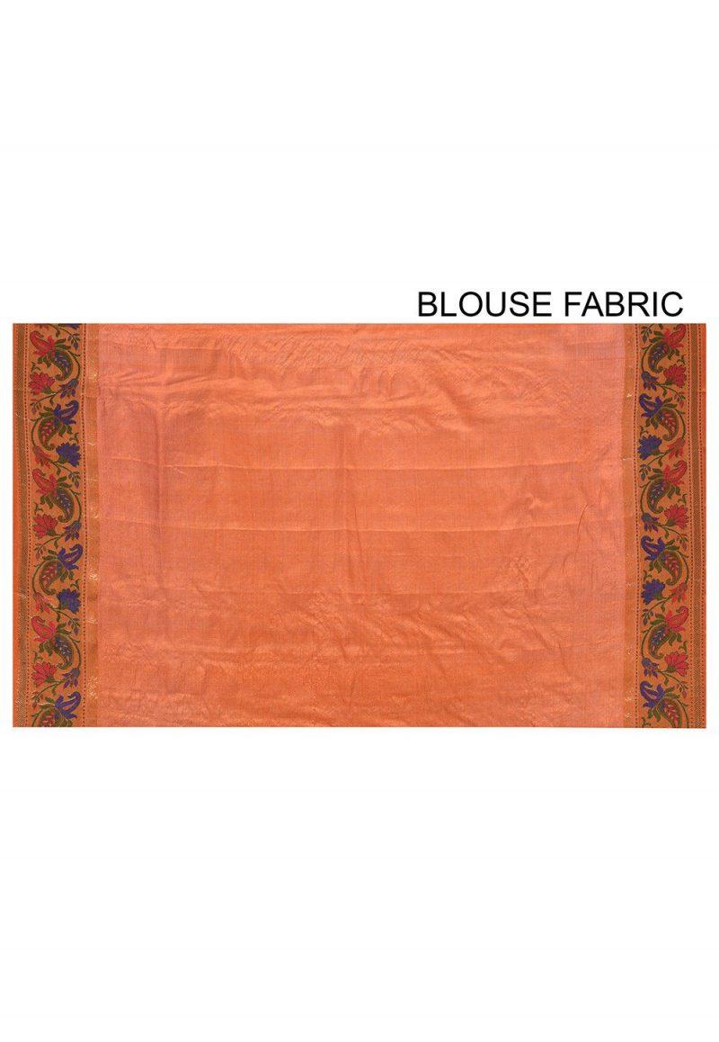 Pure Tussar Silk Banarasi Saree in Rust 3